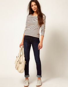 rolled jeans, striped top, white oxfords.