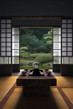 How To Add Japanese Style To Your Home Japanese room, Washitsu 和室 clean lines, simplicity and symmetrical balance Japan Design, Symmetrical Balance, Washitsu, Japanese Tea House, Traditional Japanese House, Japanese Gardens, Japanese Tea Table, Japanese Sofa, Japanese Furniture