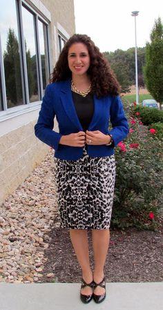 Cobalt Blue Blazer & Leopard Print Pencil Skirt