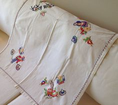 Vintage 1950s Hand Embroidered Mexican Table by thelittlegrasshut