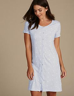 Daisy Print Nightdress with Cool Comfort™ Technology Nursing Pajamas, Short Sleeves, Short Sleeve Dresses, Nightwear, Night Gown, Daisy, Dressing, Lingerie, Gowns