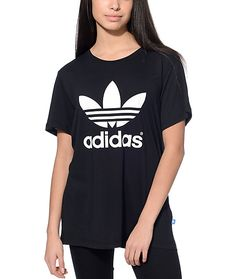 Take a run at it and get your hands on this Trefoil black tee by adidas.