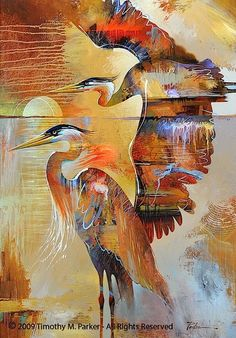 Abstract Animal Art, Tropical Bird Art, Artist Tim Parker — Gallery Naples FL - Contemporary Fine Art Prints & Modern Abstract Artwork by Southwest FL Artist Timothy Parker Tropical Art, Tropical Birds, Modern Tropical, Painting Edges, Painting & Drawing, Art Koi, Beginner Painting, Arte Popular, Blue Heron