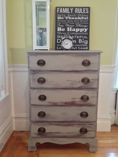 This fabulous antique chest was refinished in River Reflections latex stain by Benjamin Moore .It has a coastal/nautical feel with original hardware.  Follow my creations on facebook.comshackteauinteriors.  Keywords: coastal, dresser, nautical, bureau, shabby chic, distressed, edesign, hand painted.