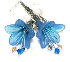 Lucite Trumpet Flower Earrings - Hand painted blue Lily -  Silver Filigree Cone by LaurenceCollection on Etsy