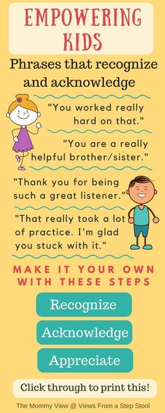 Empower kids by recognizing and acknowledging their choices and behavior. Love these parenting phrases for increasing your child's self-worth!