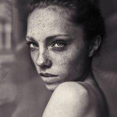 Women With Freckles Portrait Photography by Hannes Caspar