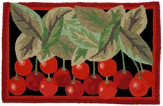 Vintage Kitchen A colorful, machine washable Jellybean® rug featuring cherries. - A colorful, machine washable Jellybean® rug featuring a bunch of bright red cherries ! Jellybean Rugs, Cherry Baby, Cherry Cherry, Cherry Hill, Cherries Jubilee, Cherry Kitchen, Naive Art, Jelly Beans, Rug Hooking