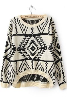 Beige Long Sleeve Geometric Pullovers Sweater US$25.90