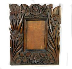Century Antique Art Nouveau Carved Wooden Picture Frame Water Lilies and…