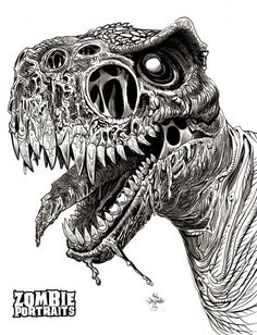 T-Rex Zombie Close Up! - Zombie Art by Rob Sacchetto