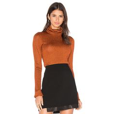 Alice + Olivia Billi Slim Turtleneck Sweater In Copper ($230) ❤ liked on Polyvore featuring tops, sweaters, sweaters & knits, slimming tops, slim fit sweaters, turtle neck top, alice olivia sweater and turtle neck ribbed top