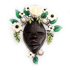 Винтажная объемная брошь в виде африканской маски