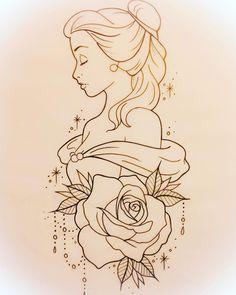 drawing drawing disney Tattoo Disney Pixar Belle 25 T Disney Pixar, Disney Art, Disney Ideas, Disney Belle, Films Disney, Disney Stuff, Pencil Art Drawings, Cartoon Drawings, Easy Drawings