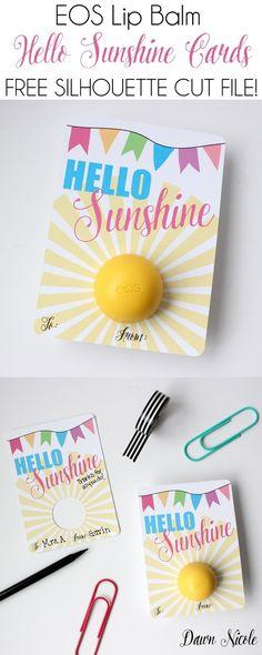 Silhouette Saturday: EOS Lip Balm Hello Sunshine Card + Free Cut File! | bydawnnicole.com