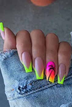 Nail Art Designs, Colorful Nail Designs, Acrylic Nail Designs, Long Nail Designs, Stars Nails, Bright Summer Acrylic Nails, Pink Summer Nails, Bright Nails, Nailart
