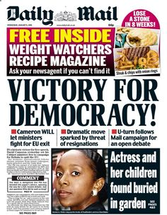 """""""Wednesday's Daily Mail front page: Victory for Democracy! Steak And Chips, Weight Watchers Meals, Daily Mail, Victorious, January 2016, Let It Be, Wednesday, Twitter"""