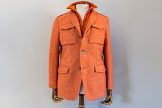 Fell in love with this. #Menswear at its finest. CALVARESI DONEGAL FIELD JACKET ORANGE