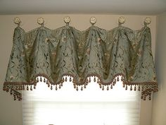 I love the medallions used to hang this cuff and of course I love the bead trim! Valance Window Treatments, Kitchen Window Treatments, Custom Window Treatments, Window Coverings, Cornices, Home Curtains, Curtains With Blinds, Valance Curtains, Drapery