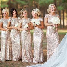 Best Sale Cap Sleeve Gold Sequin Bridesmaid Dress, Mermaid Bridesmaid Dress, WD0251