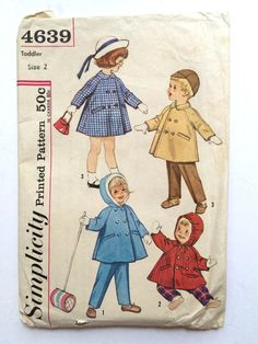Vintage Sewing Pattern Unisex Toddler 60's by Freshandswanky