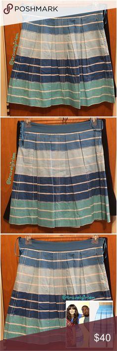 "Anthropologie Lido Light Skirt in Blue Stripes 10 Adorable skirt, as seen on Zooey Deschanel in New Girl! Size 10. Has pockets! Waist: 16.5 -17"" (little stretch). Length: 20"". Anthropologie Skirts"