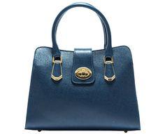 Carla Ferreri Elegantní kožená kabelka 417 BLU