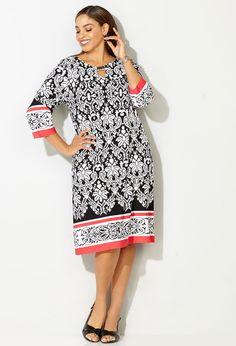 Damask Coral Border Dress