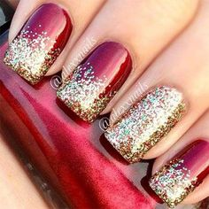 Red Nails With Glitter christmas glitter nails christmas nails christmas nail art christmas nail ideas Fancy Nails, Cute Nails, Pretty Nails, Classy Nails, Simple Nails, Christmas Nail Art Designs, Holiday Nail Art, Holiday Nail Colors, Winter Nail Designs