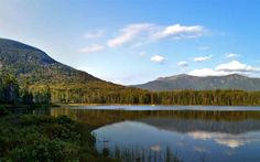 Download wallpapers Lonesome Lake, 4k, mountains, sunrise, morning, beautiful lake, New Hampshire, USA