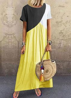 Color Block Tunic Round Neckline Maxi Shift Dress fashion trends Blazers,fall fashion trends Winter Coats,fall fashion trends Vogue,fallfashion trends Ready To Plus Size Maxi Dresses, Casual Dresses, Fashion Dresses, Short Sleeve Dresses, Women's Fashion, Fashion Online, Fashion Videos, Fashion Weeks, Paris Fashion