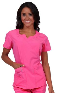 Be bright! Put on the Natalie mock wrap scrub top in a choice of neon colors from Peaches Comfort Collection. Color featured here: Pop. #ScrubTop