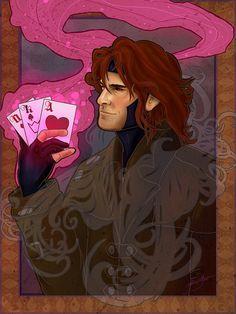 Superheroes in Art Nouveau Style: Gambit by Jackie Ocean
