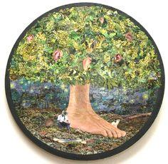 Ao pé das orelhas - collage sobre madeira - 33 cm - 2008 - colagem de Silvio Alvarez - arte, art, collage, colagem, collage art, collage artist, paper, papel, revistas, recortes, sustentabilidade, reciclagem, reaproveitamento, arte ambiental, brazilian art, silvio Alvarez, surrealism, surrealismo, surreal, collagework, camera, privacidade, cao, cotonete orelha, orelha, audicao, privacy, swab ear, ear, audition, dog