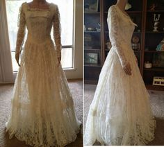 vintage lace 50s ivory wedding dress /vintage lace 50s ivory wedding gown #Handmade