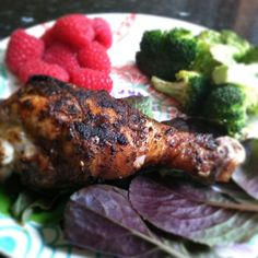 """Chipotle grilled chicken leg, grilled garlic broccoli & a side of berries"" #PrimalBliss  The Chipotle chicken was marinated in melted coconut oil (guessing about 1/4 cup), juice of 1 lime, 1-2 TBS smoked paprika, 1 tsp sea salt, 1 -2 tsp chipotle powder (depending on how spicy you like), 1 tsp onion powder, 1 tsp garlic powder, 1/2 tsp white pepper for about an hour and grilled on medium turning until cooked through."