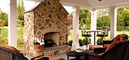 43 Cozy Outside Living Room Designs Ideas 91 22 Beautiful Outdoor Living Rooms & Outdoor Room Ideas 6 Outdoor Living Rooms, Outside Living, Outdoor Spaces, Indoor Outdoor, Living Spaces, Outdoor Stone, Outdoor Kitchens, Porch Fireplace, Living Room With Fireplace
