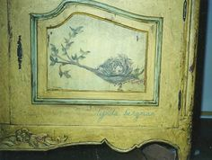 LYNDA BERGMAN DECORATIVE ARTISAN: HAND PAINTED & DISTRESSED COUNTRY FRENCH CABINET WITH BIRD & NEST ARTWORK
