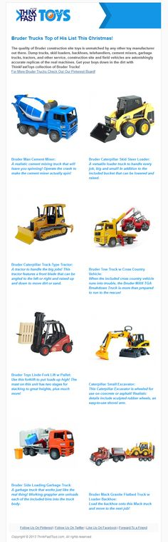 The quality of Bruder construction site toys is unmatched by any other toy manufacturer out there. Dump trucks, skid loaders, backhoes, telehandlers, cement mixers, garbage trucks, tractors, and other service, construction site and field vehicles are astonishingly accurate replicas of the real machines. Get your boys down in the dirt with ThinkFastToys collection of Bruder Trucks!