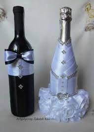 Znalezione obrazy dla zapytania jak ubrać butelkę wina na wesele