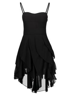 Vintage Spaghetti Strap Asymmetrical Solid Color Gothic Dresses - BLACK XL