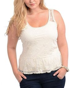 Take a look at this Cream Semi-Sheer Tank - Plus by Buy in America on #zulily today!