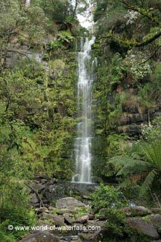 Closer long exposed photo of the tall Erskine Falls  Angahook-Lorne State Park, Victoria, Australia