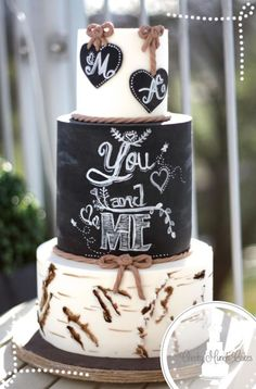 Rustic Birchbark Chalkboard Wedding Cake - Cake by AC Saldua