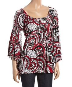 Another great find on #zulily! Red Medallion Bell-Sleeve Peasant Top #zulilyfinds
