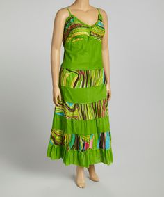 Another great find on #zulily! Lime Wave Maxi Dress - Plus #zulilyfinds
