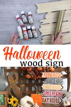 Make this wood sign for Halloween and add to a mantel or even your outdoor decor! Make this wood sign for Halloween and add to a mantel or even your outdoor decor! Halloween Wood Signs, Halloween Wood Crafts, Fete Halloween, Halloween Projects, Diy Halloween Decorations, Diy Craft Projects, Outdoor Decorations, Fall Outdoor Decorating, Ideas For Halloween