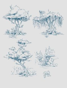 Some concept art of trees.