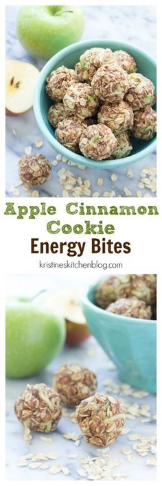Healthy Snacks For Kids These Apple Cinnamon Cookie Energy Bites are a healthy snack that's easy to make. Filled with oats, flaxseed, almond butter, and fresh apple! Energy Snacks, Energy Bites, Protein Snacks, Protein Bites, High Protein, Healthy Sweets, Healthy Snacks, Healthy Eating, Healthy Recipes