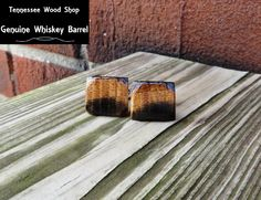 Two Tone Whiskey Barrel Wood Cuff Links Handmade by TennesseeWoodShop on Etsy